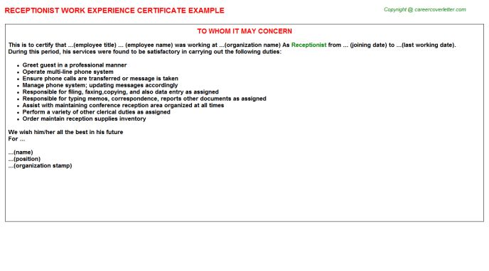 Receptionist Work Experience Certificate