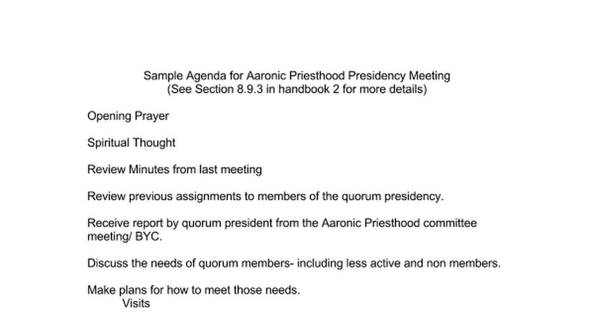 Agenda for Aaronic Priesthood Presidency Meeting.doc - Google Docs