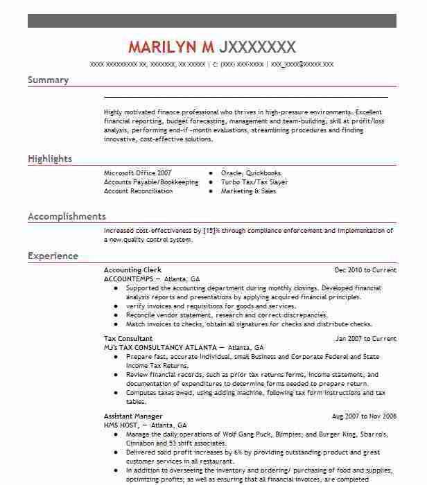 Best Accounting Clerk Resume Example | LiveCareer