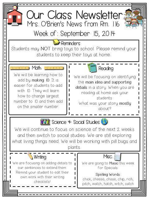 Best 10+ Parent newsletter template ideas on Pinterest | Teacher ...