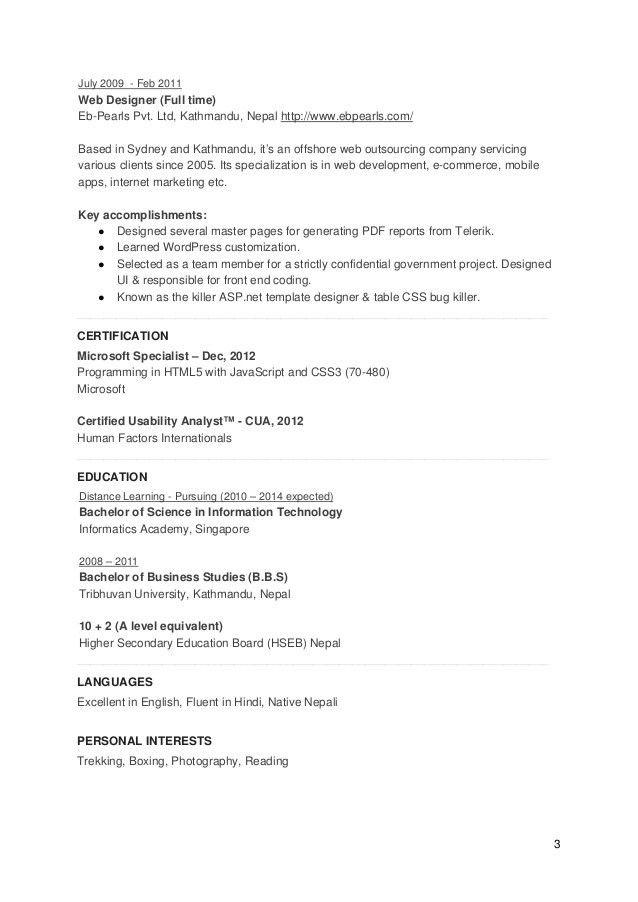 UX Designer and Front End Engineer CV (Resume)