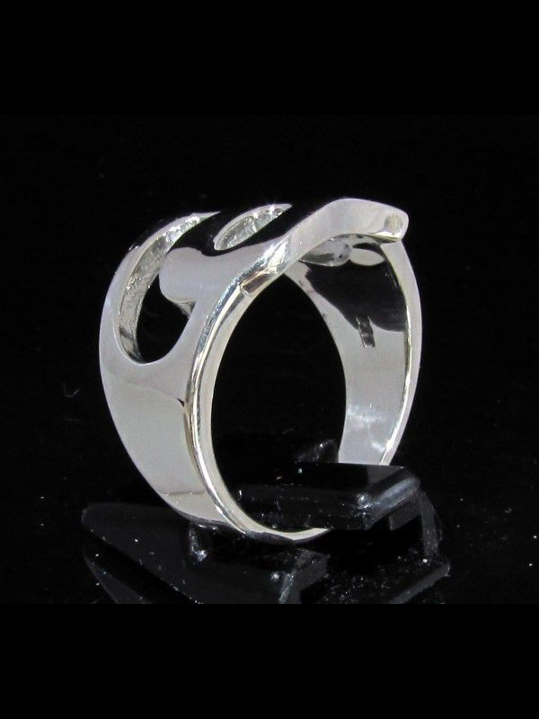 SILVER INITIAL RING ONE 1 CAPITAL BLOCK LETTER P