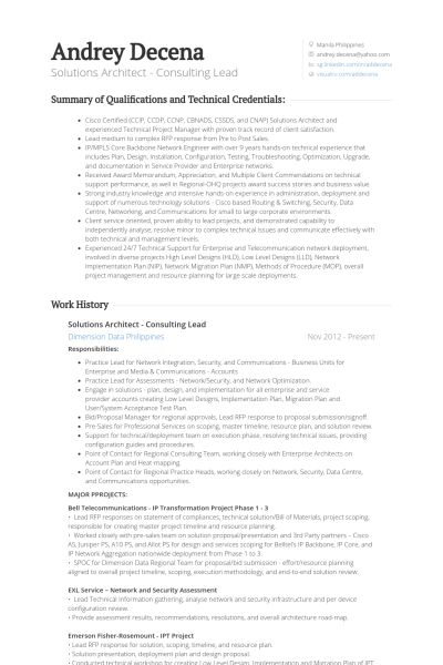 Solutions Architect Resume samples - VisualCV resume samples database