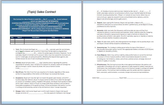 Sales Contract Template – ContractGuru