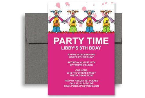 Children Clowns Party Birthday Invitation Examples 5x7 in ...