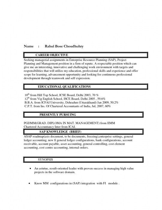 The Awesome Resume Objective For Freshers | Resume Format Web