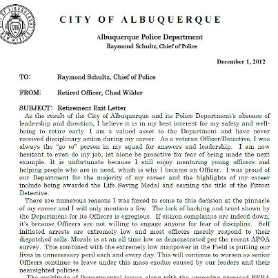 "Albuquerque Police Officer Posts ""Exit Letter"" on Facebook 