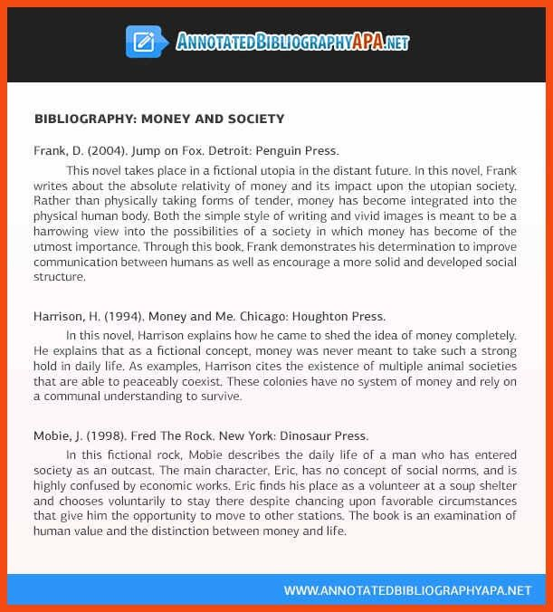 sample annotated bibliography apa | program format