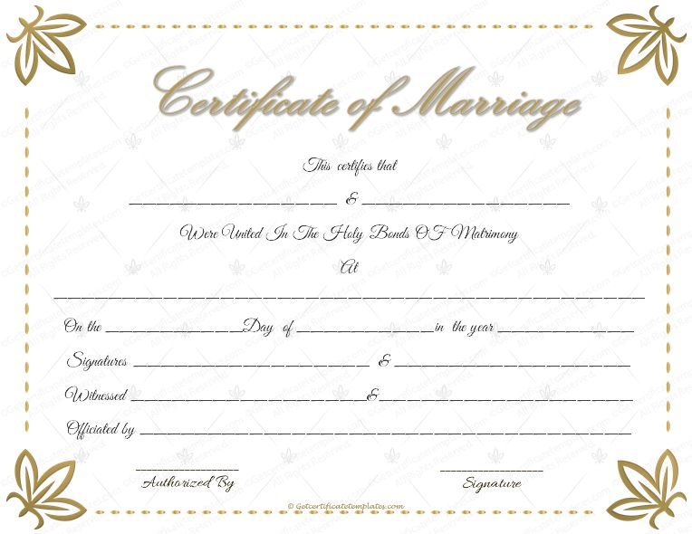 Flowers Marriage Certificate Template