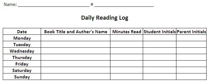 Daily Homework Log Template