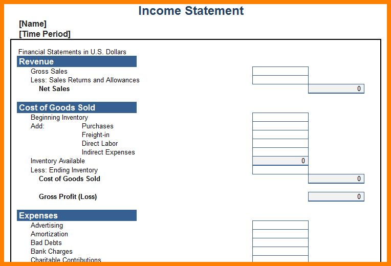 Blank Income Statement Template.Personal Income Statement Template ...