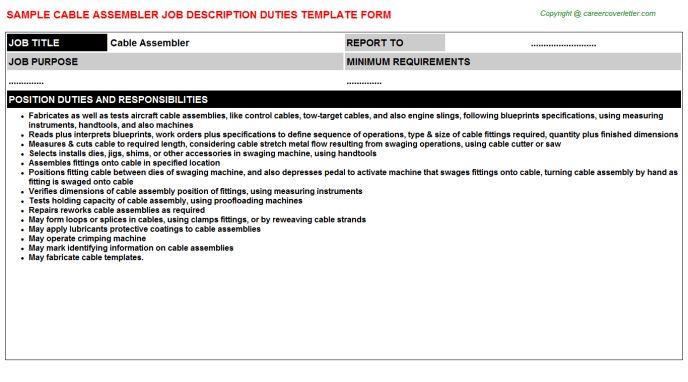 Cable Assembler Job Descriptions