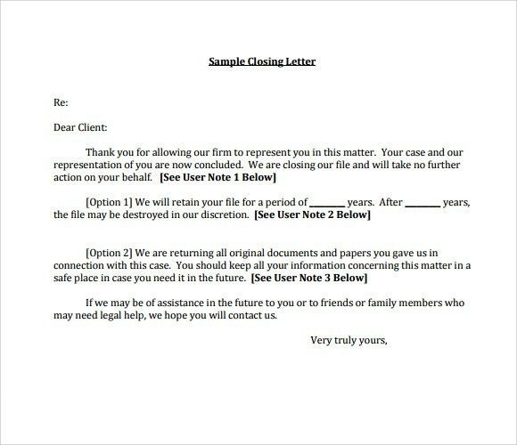 Close Business Letter - The Letter Sample