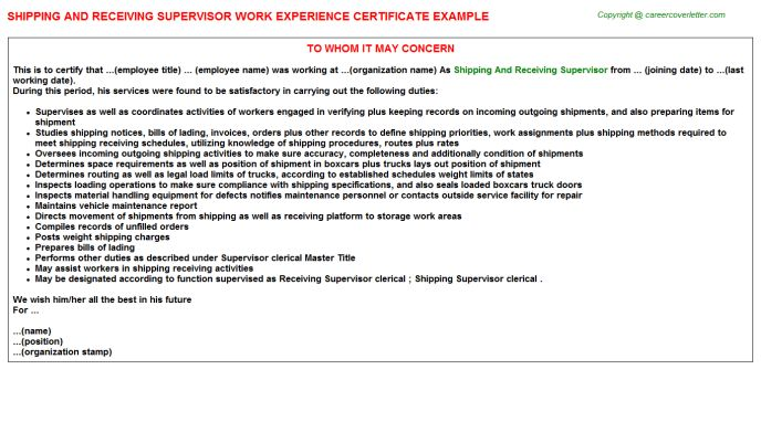 Shipping And Receiving Supervisor Work Experience Certificate