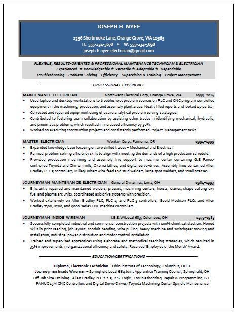 Electrician Sample Resume | Resume Writing Service