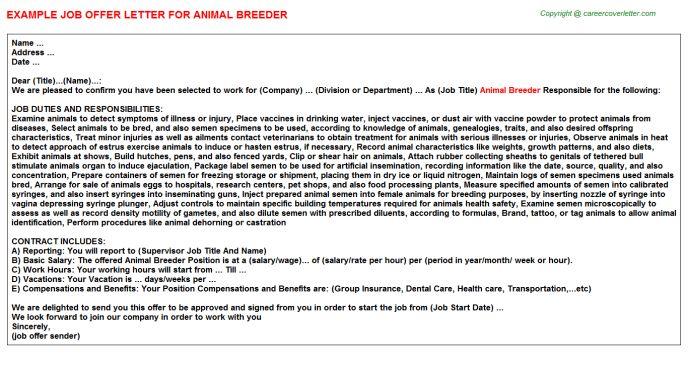 Animal Breeder Offer Letters