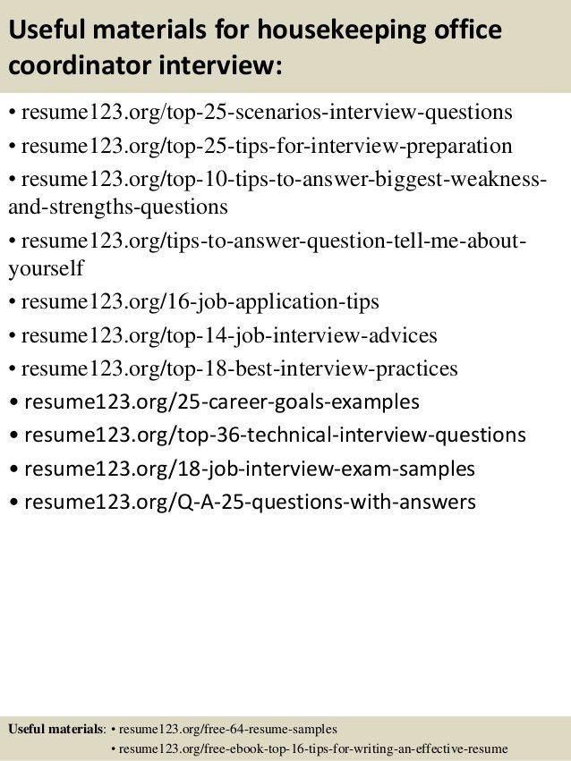 Top 8 housekeeping office coordinator resume samples