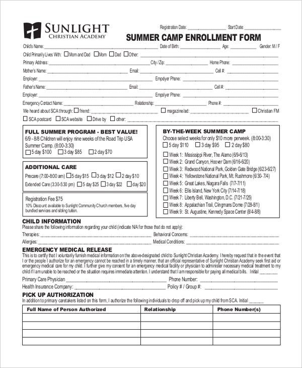 Enrollment Form Format [Template.billybullock.us ]