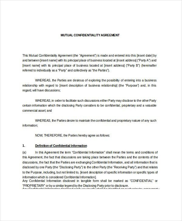 Mutual Confidentiality Agreement U2013 5+ Free Word, PDF Documents .  Mutual Agreement Contract Template