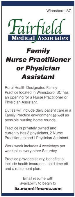 Family Nurse Practitioner or Physician Assistant job in Winnsboro ...