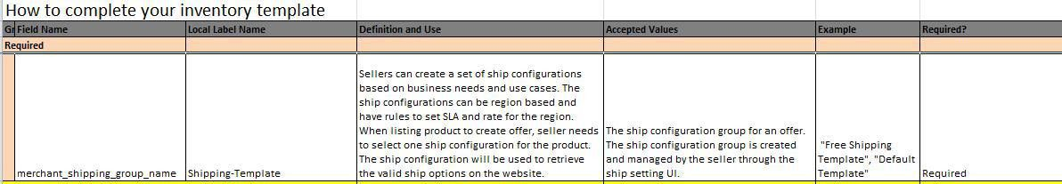When mass registration using excel,what should I use for shipping ...