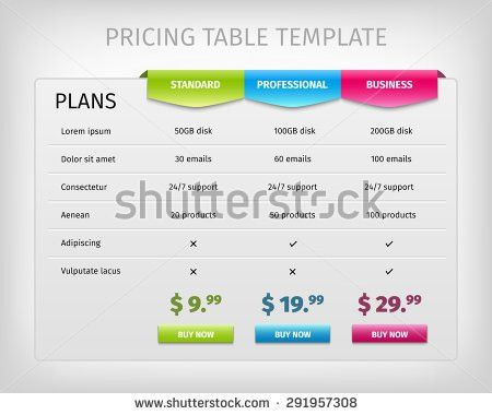 Comparison Services Web Pricing Table Template Stock Vector ...