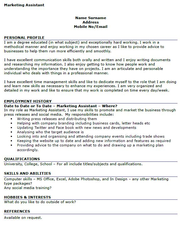 Marketing Assistant CV Example - icover.org.uk