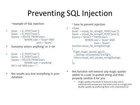 Injection Attacks by Example SQL Injection and XSS Adam Forsythe ...