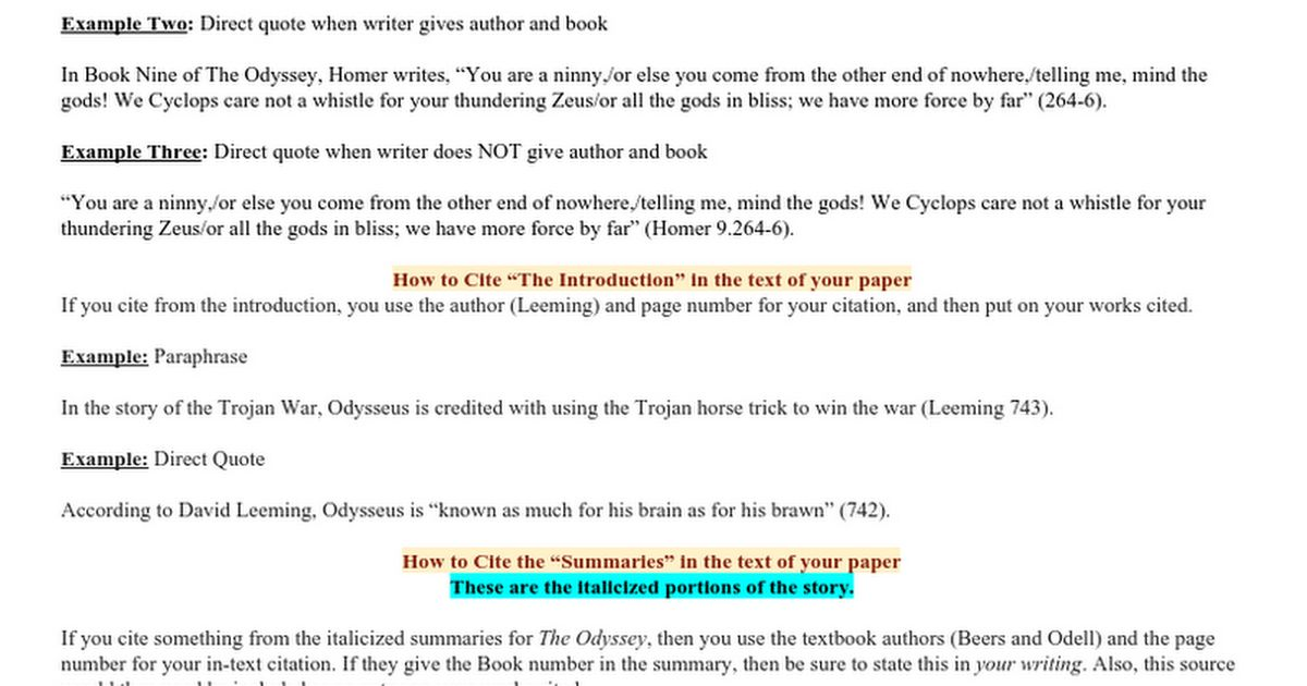 Citing The Odyssey - Google Docs