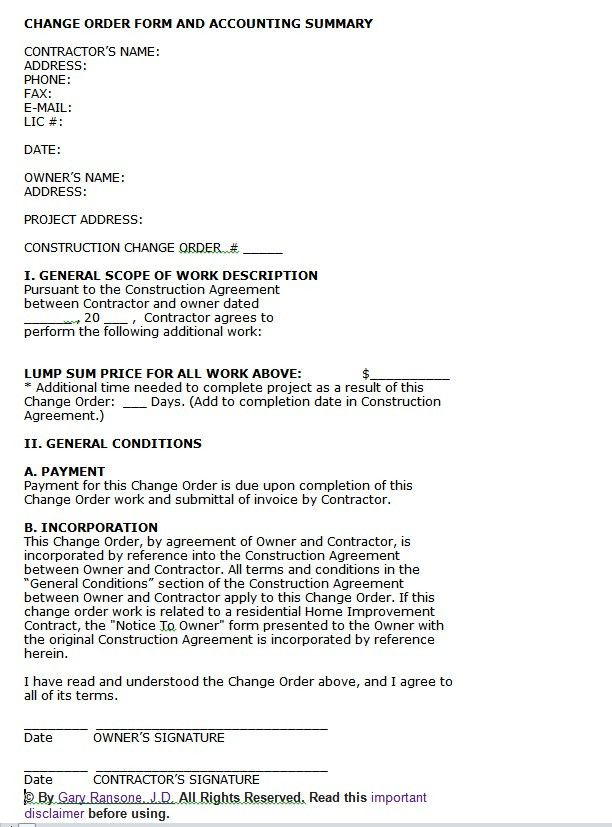 Construction Change Orders   BuildingAdvisor
