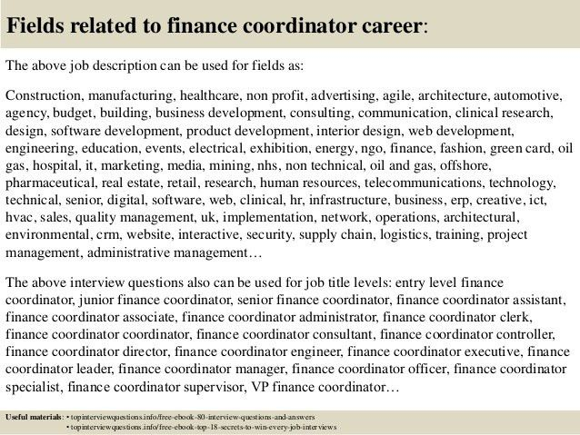 Finance Coordinator Financial Coordinator Job Description Top 10 – Finance Director Job Description