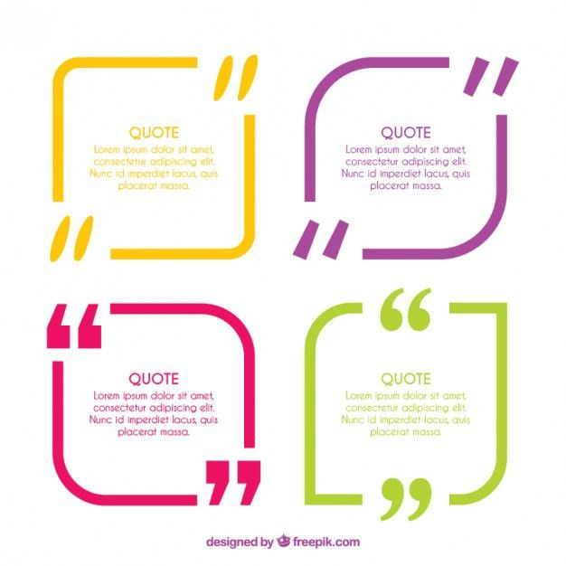 Colored modern quotation templates Vector | Free Download