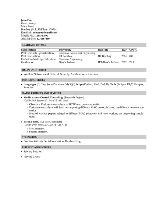 Indian Institute of Technology Bombay Resume - LaTeX Template ...