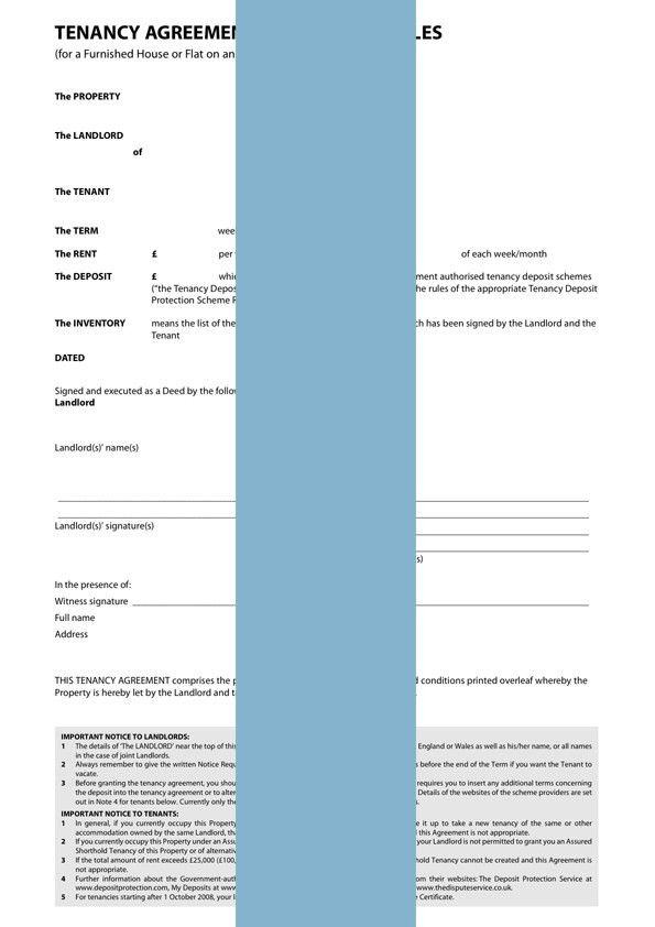 Tenancy Agreement - Furnished - Form Template & Sample | lawpack.co.uk
