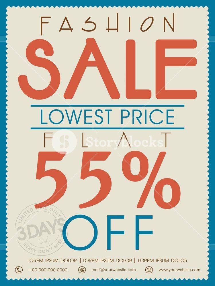 Vintage Fashion Sale poster banner or flyer design with flat ...