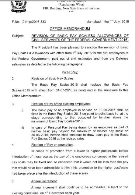 Notification of Revised Pay Scales 2016 | Galaxy World