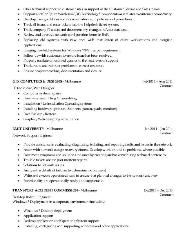 Download Customer Support Engineer Sample Resume ...