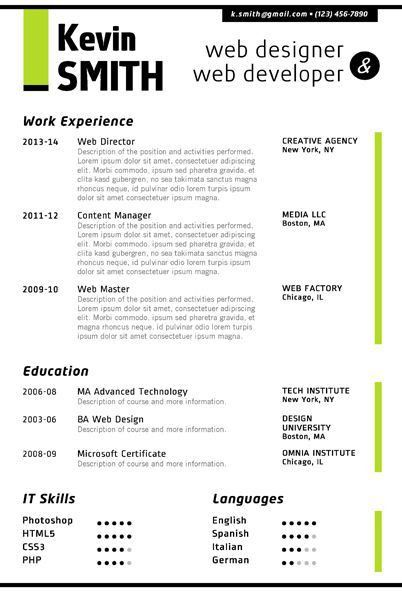 7 best Web Designer Resume Template images on Pinterest | Creative ...