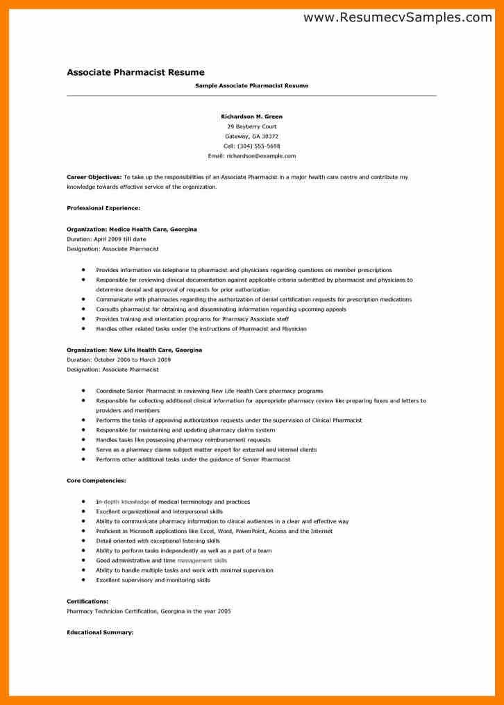 associate pharmacist resume