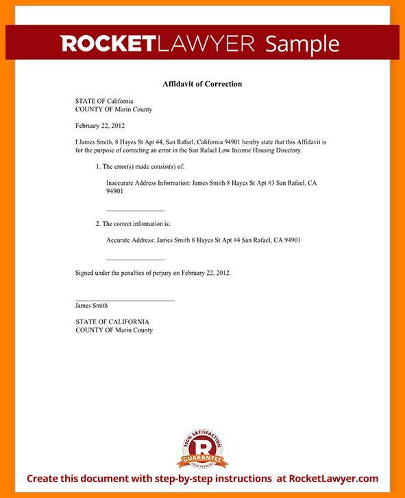 Affidavit Of Correction Car Title.Sample Affidavit Of Correction ...