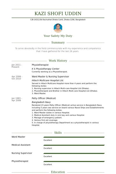 Physiotherapist Resume samples - VisualCV resume samples database