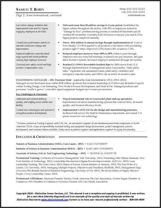 Sample Manufacturing Resume