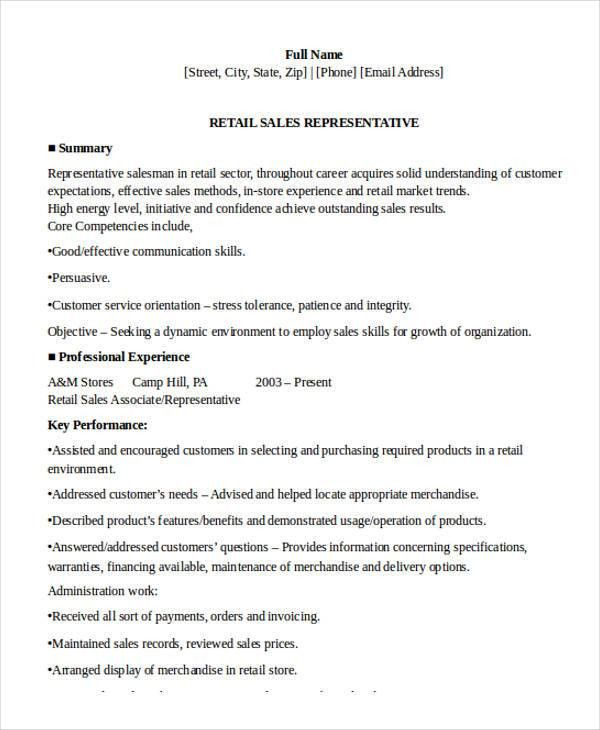 Sample Retail Sales Resume - 10+ Free Samples, Examples Format ...