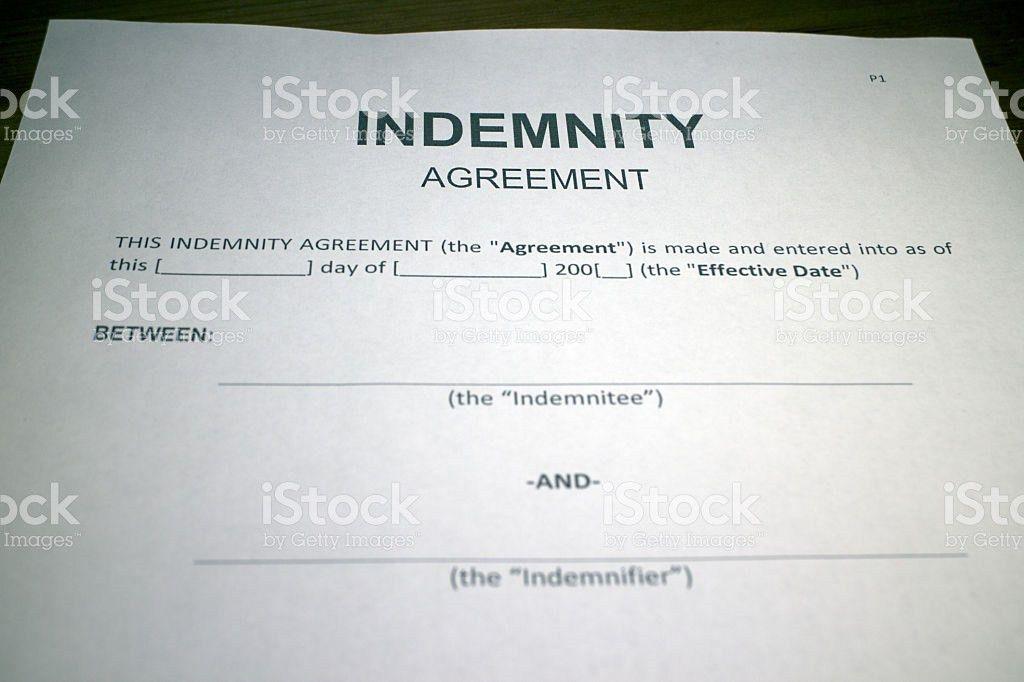 Blank Indemnity Agreement Form stock photo 539352092 | iStock