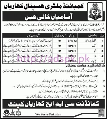 New Career Jobs Combined Military Hospital CMH Kharian Cantt Jobs ...