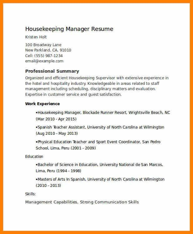 6+ housekeeper supervisor resume | character refence