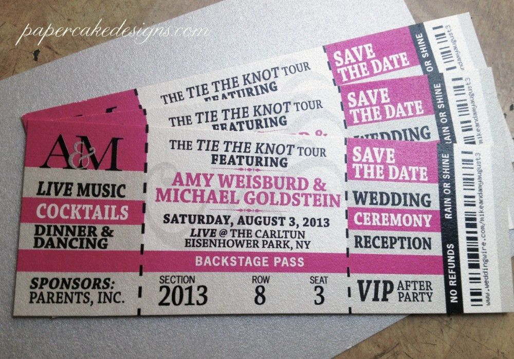 Concert Ticket Wedding Invitations | Sunshinebizsolutions.com