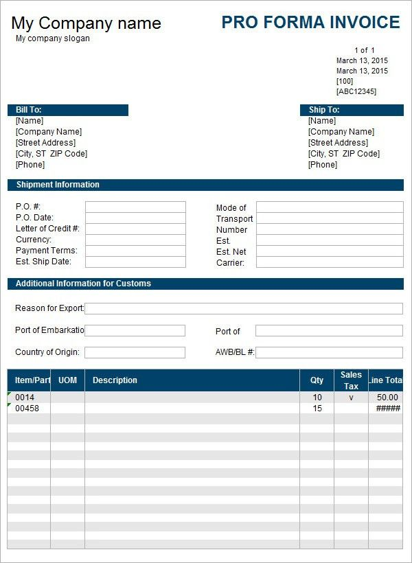 7+ Proforma Invoice Templates - Download Free Documents in Word ...