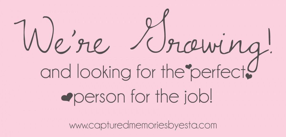 Now hiring – Part time Assistant » Captured Memories by Esta ...