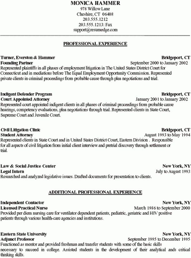 Sample Resume - Attorney Career Change